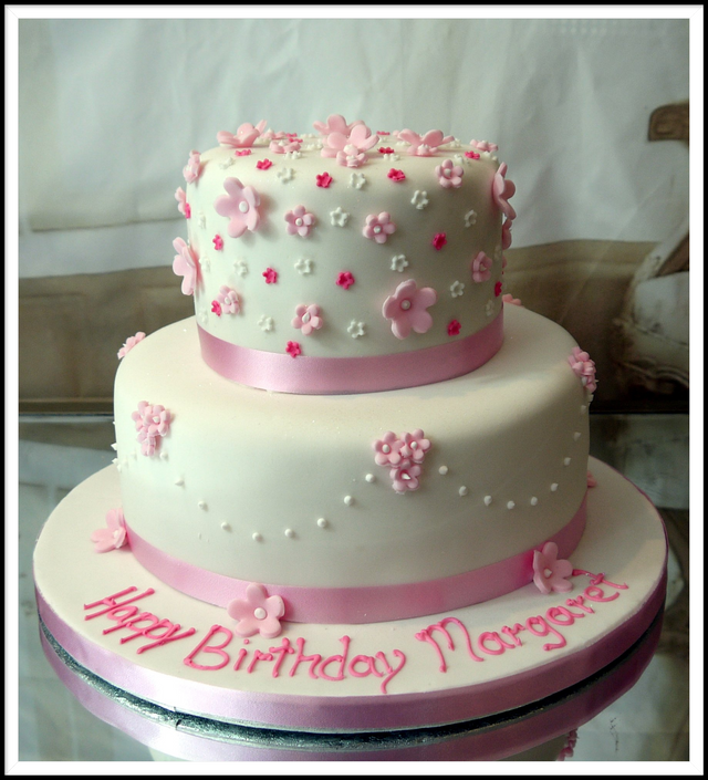 Beautiful 2 Tier Cake With Blossoms Is Shades Of Pink