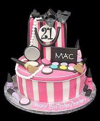 d53a064ba6b This cake celebrates that love. the cake has pin and white candy stripes  and is surrounded by eye-shadow pallets