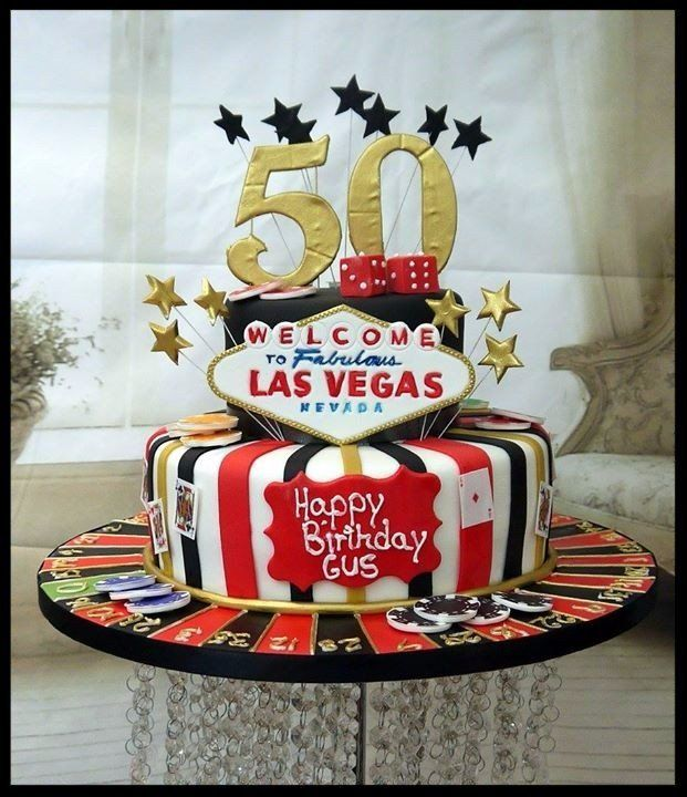 2 Tier Las Vegas Themed Cake
