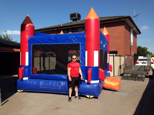 Jumping castle ready for event at private home.