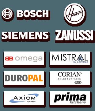 BOSCH, Hoover, Siemens, Zanussi, smeg, AEG, LG, Samsung and Rangemaster logos