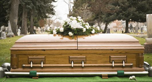 coffin in graveyard