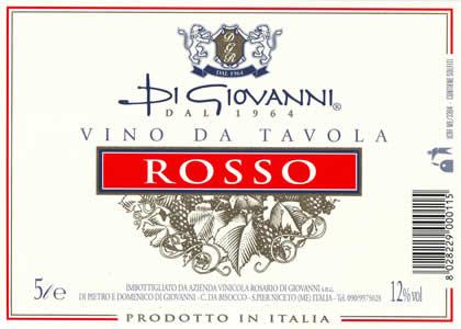 Un'etichetta Di Giovanni Vino da Tavola Rosso