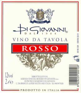 Un'etichetta Di Giovanni Vino da Tavola Rosso prodotto in Italia