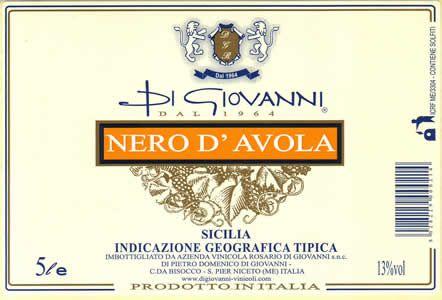 Un'etichetta Di Giovanni Riverbero Sicilia