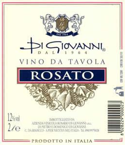 Un'etichetta Di Giovanni Dal 1964  Vino da Tavola Rosato