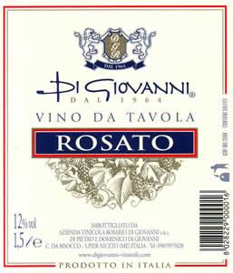Un'etichetta Vino da Tavola Rosato