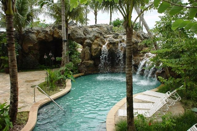 Beautiful pool surrounded by palm trees and with a waterfall feature