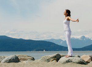 woman breathing in fresh air