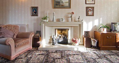 tiled flooring by fireplace