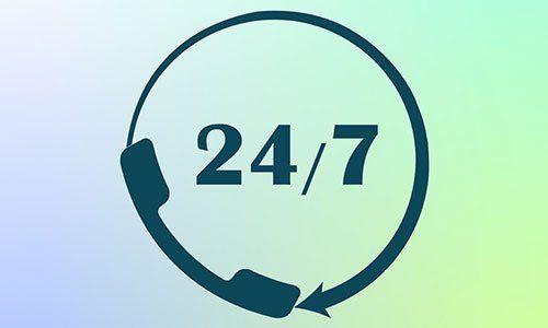 Icona assistenza 24 ore su 24, 7 giorni su 7