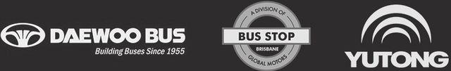 Logos of Daewoo Bus, Brisbane Bus Stop, Yutong