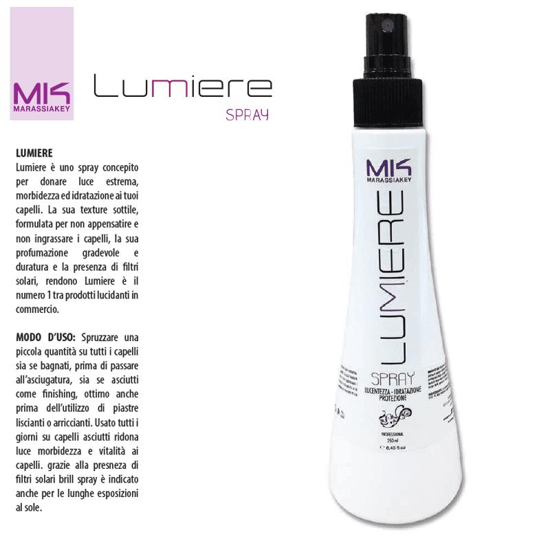 Lucentezza idratazione protezione capelli Marassiakey Lumiere spray