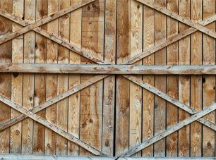 A wooden double gate