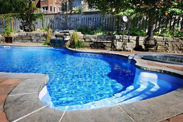 Una piscina elegante con giardinetto e bordi in pietra