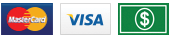 Mastercard, Visa and Cash payment method icons