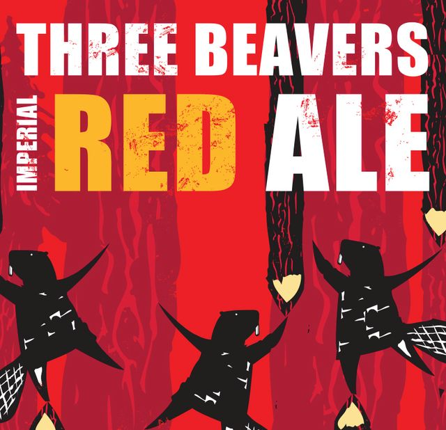 Three Beavers Imperial Red Ale Beer Label