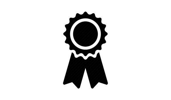 Un logo con una spilla nera e fiocco