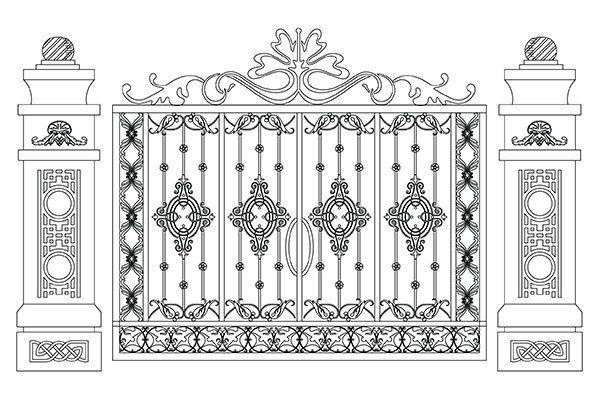 un disegno di un cancello