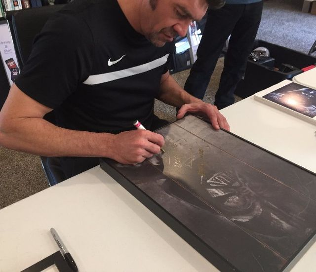 Spencer Wilding Signed 12 X 12 Darth Vader Wooden Frame Portrait with Stand