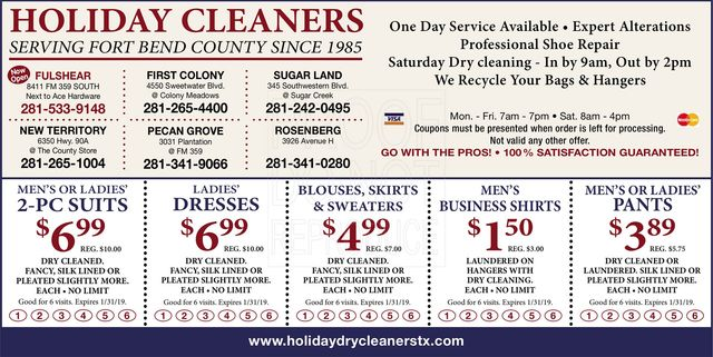 image about Printable Dry Cleaning Coupons known as One of a kind Bargains Family vacation Dry Cleaners