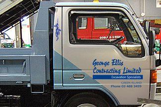 Side of earthmoving truck in Dunedin