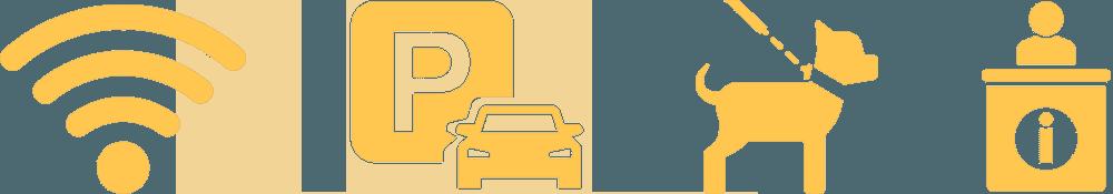 icone: wifi, parcheggio, cane e punto info