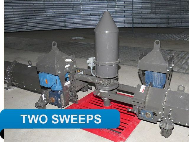 Two sweeps clean grain bin floor