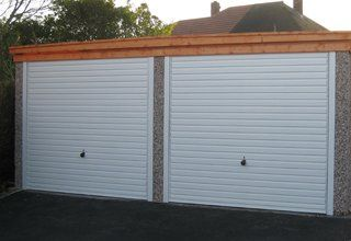 Pent double concrete garage