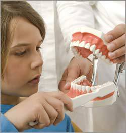 Child learning proper dental care from Dr. Attalla