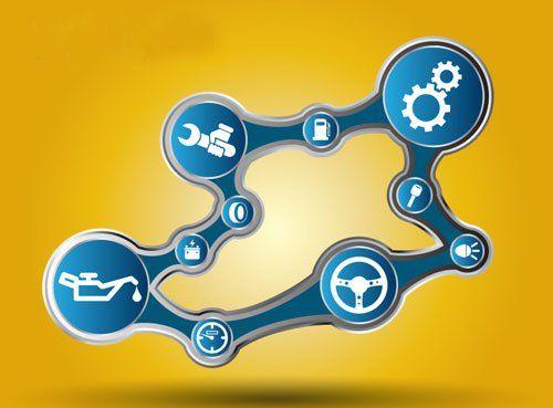 Un'immagine di varie icone legate al mondo delle riparazioni automobilistiche