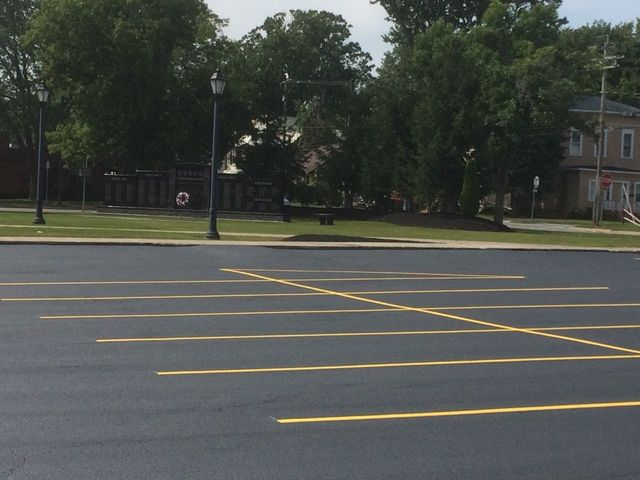 Freshly painted parking lot installation