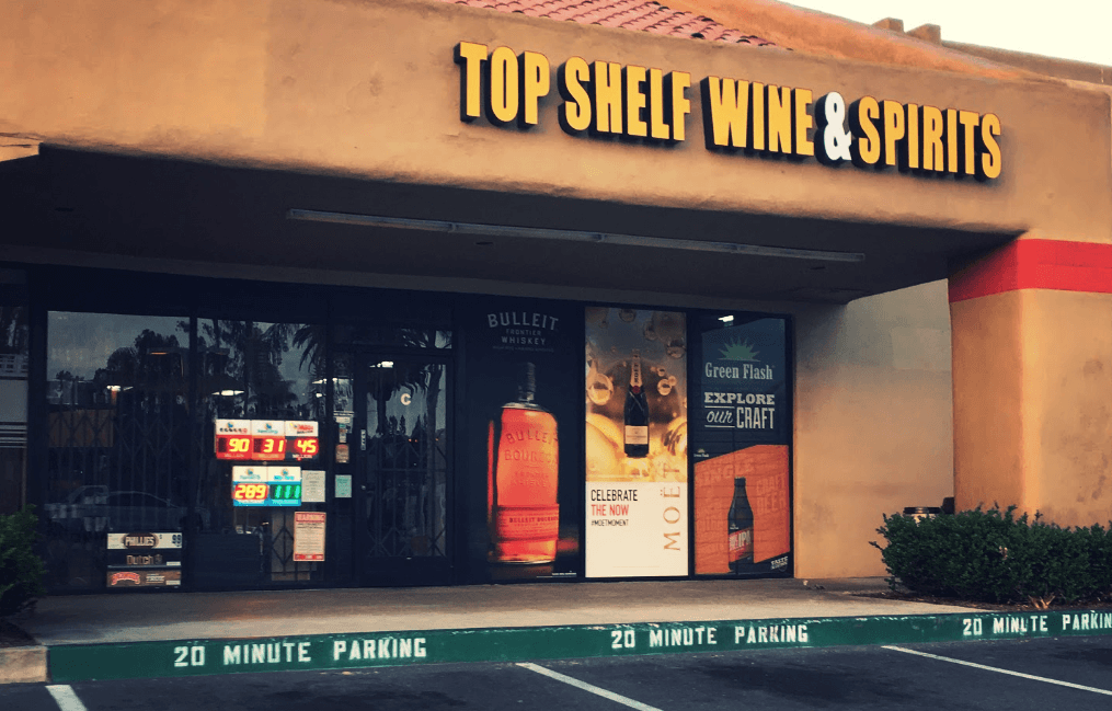 top shelf wine and spirits outside photo