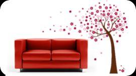 decorazioni per pareti, immagini da applicare su pareti, albero con fiori rosa