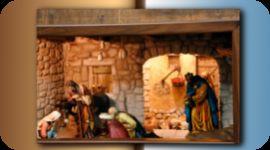 capanna, statuette del presepe, Giuseppe e Maria