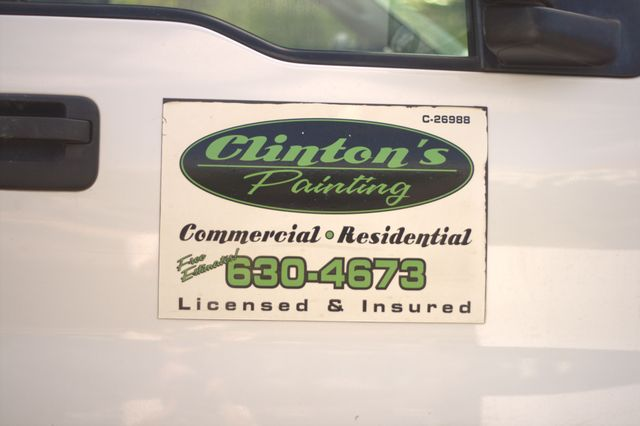 Clinton's Painting logo decal on truck