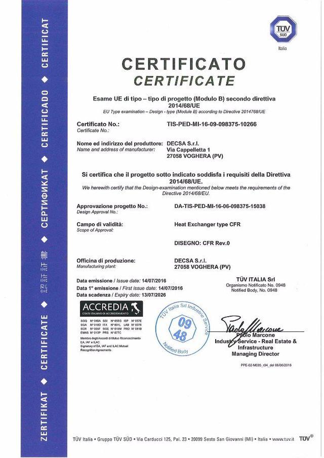 Certificazione TUV di lavoro
