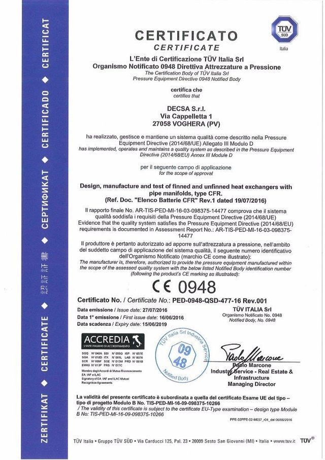 Certificazione TUV di sistema di qualità