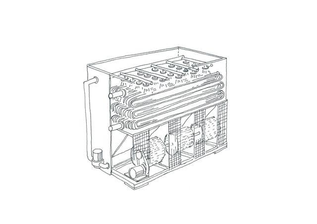 Condensatore evaporativo con ventilatori centrifughi
