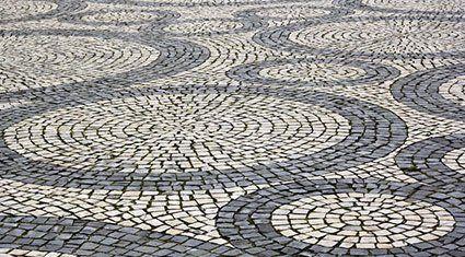 A circular paving area