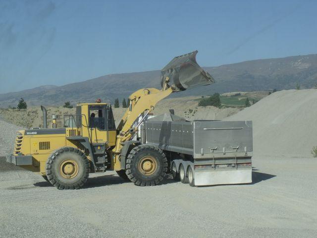 Excavators in quarry