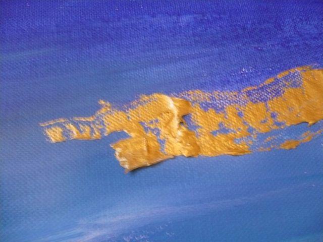 pittura oro su blu