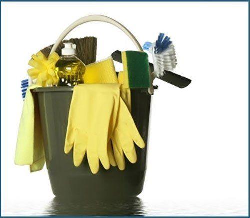 Secchio verde con prodotti di pulizia