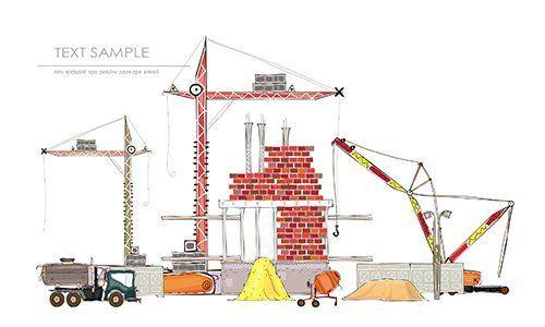 un disegno di mezzi agricoli, gru,terra e mattoni