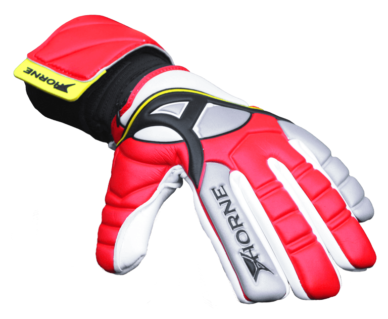 red goalkeeping glove