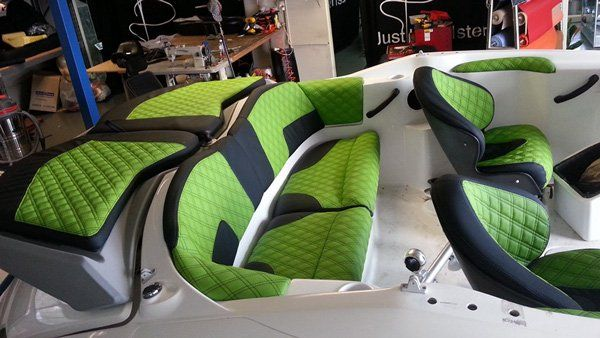 green boat upholstery