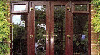 double double glazed patio doors in wood effect foil