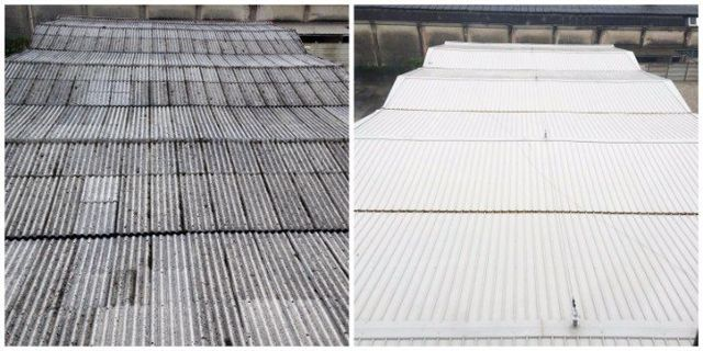 un tetto prima con l'amianto e dopo senza
