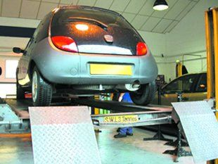 MOT test centre - Tewkesbury - Autostation Ltd - Ford KA in MOT station