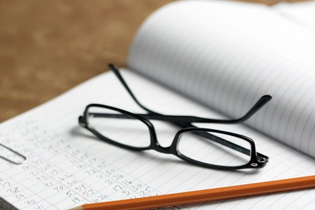 A pair of glasses on payroll book